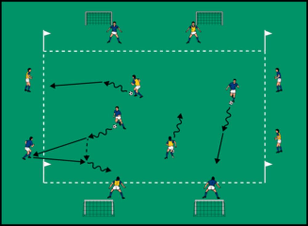 Rozgrzewka w dwóch grupach z elementami podań i przyjęć piłki